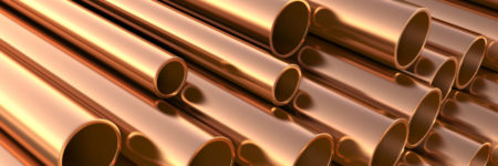 Copper pipes on warehouse. 3d illustration